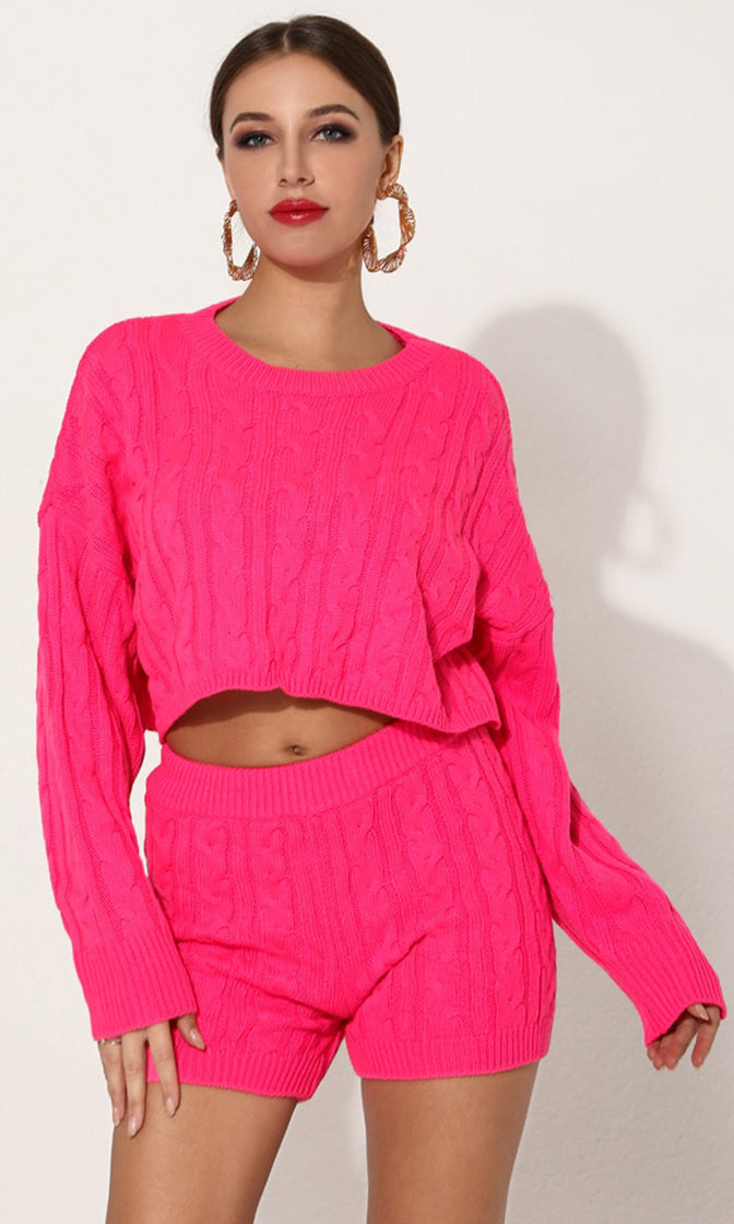 Bust A Move Neon Pink Long Sleeve Crew Neck Crop Top Pullover Sweater And Shorts Two Piece Romper Set