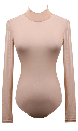Vision Quest Beige Long Sleeve Sheer Mesh Mock Neck Bodysuit Top