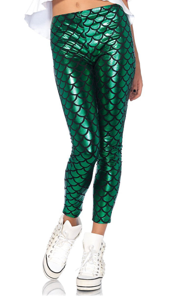 Laid Back Mermaid White Green Black Sleeveless Spaghetti Strap Clam Shell High Low Tank Top Fish Scale Legging Two Piece Halloween Costume
