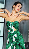 Tropical Romance Green Leaf Pattern Strapless Bow Crop Top Wide Leg Loose Pants Two Piece Jumpsuit - Sold Out