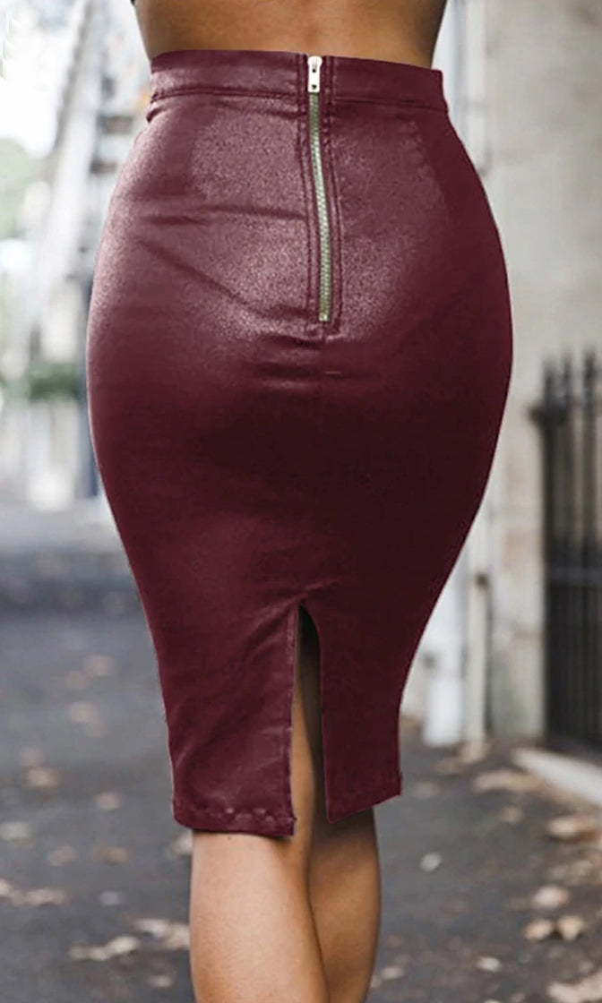 Falling For Me PU Faux Leather High Waist Bodycon Mini Skirt - 3 Colors Available