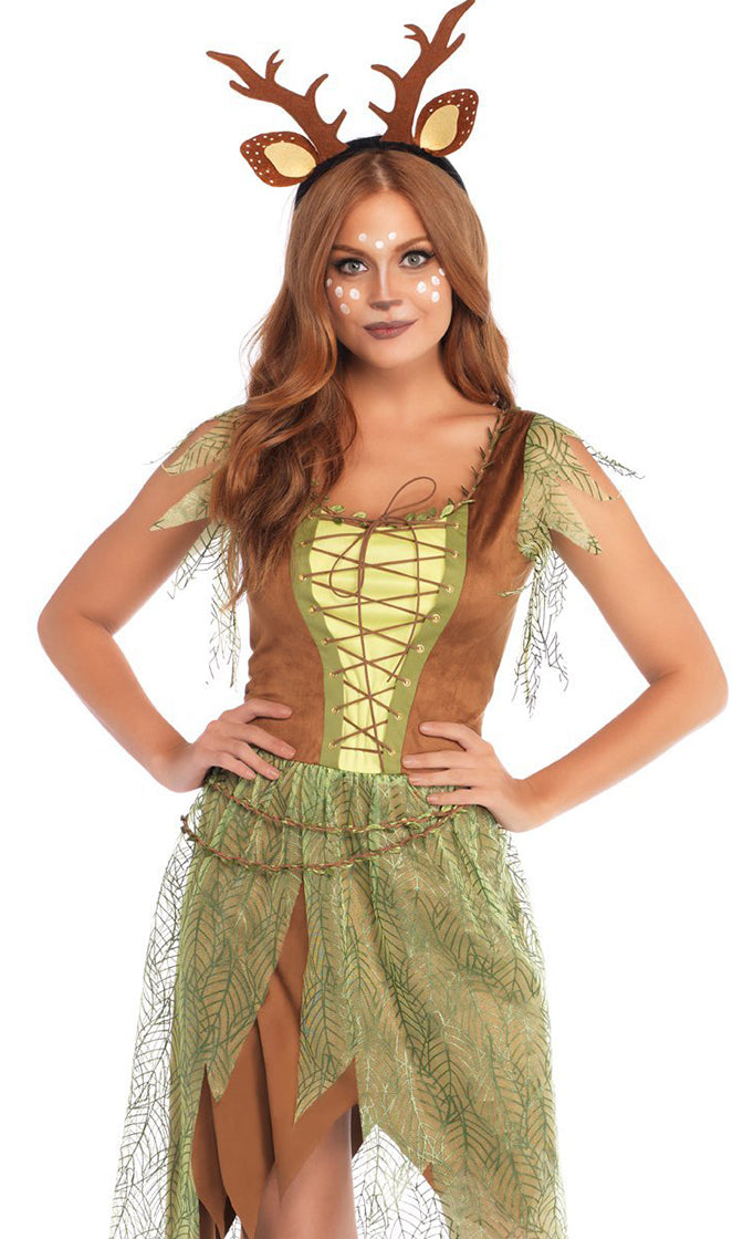 Forest Flirt Brown Light Green Sheer Mesh Leaf Pattern Cap Sleeve Lace Up V Neck Asymmetric Midi Dress Halloween Costume