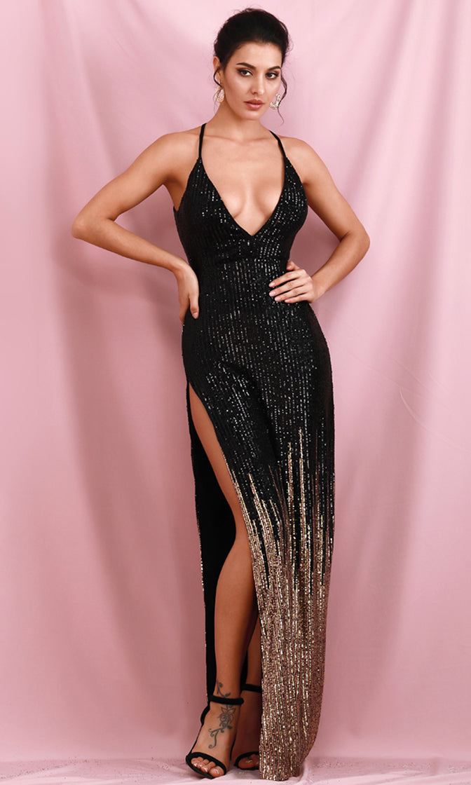 Moon Shine Black Gold Sequin Gradient Sleeveless Spaghetti Strap Crisscross Plunge V Neck Backless High Slit Maxi Dress