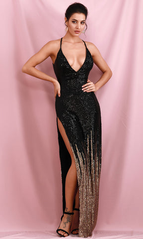 Always Happy Rose Gold Sequin Long Lantern Sleeve One Shoulder Asymmetric Cross Wrap Tie Belt Bodycon Mini Dress