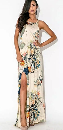 Havana Nights Beige Blue Black Green Orange Red Floral Sleeveless Spaghetti Strap Scoop Neck Front Slit Casual Maxi Dress - Last One!