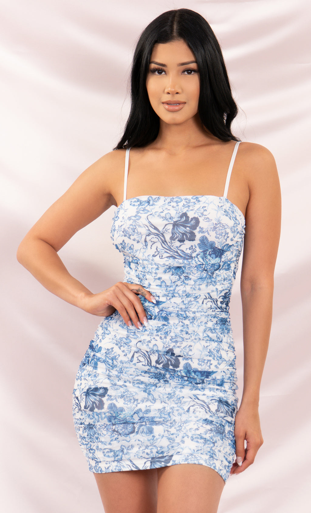 Fine China Blue White Porcelain Floral Pattern Mesh Ruched Bodycon Spaghetti Strap Mini Dress