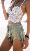 Nothing to Hide White Nude Mesh Scalloped Lace Sleeveless Spaghetti Strap V Neck Crop Bustier Tank Top - Back in Stock!