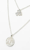 Finishing Touch Double Chain Multi-layer Floral Pendant Tree Of Life Necklace - 2 Colors Available