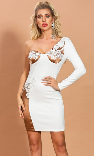 Classy But Sassy White Light Brown Satin One Shoulder Long Sleeve Bustier Lace Trim Bodycon Mini Dress