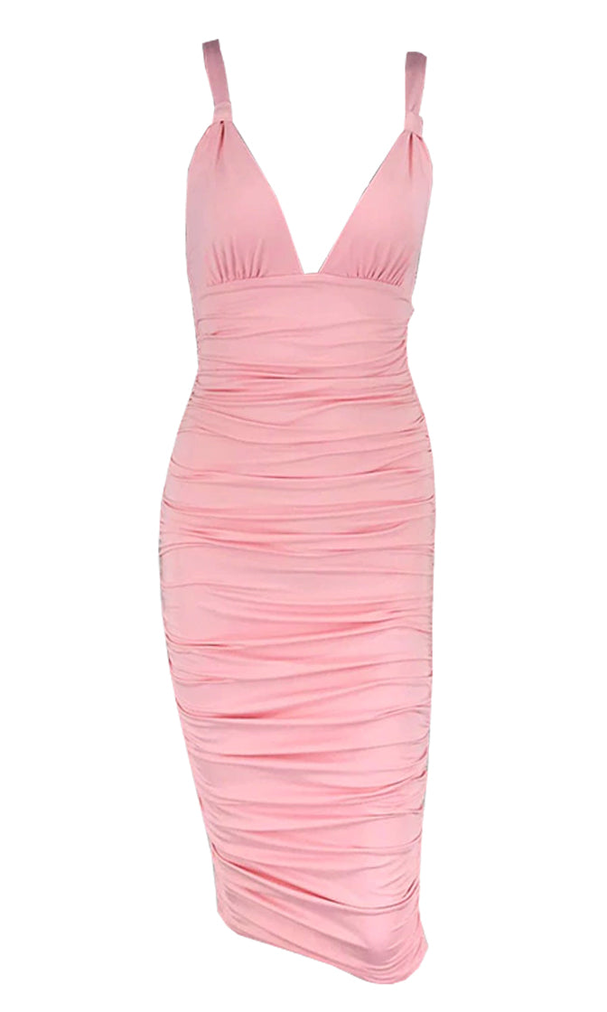 Bon Appetit Ruched Knot Sleeveless Spaghetti Strap Plunge V Neck Open Back Bodycon Midi Dress - 2 Colors Available