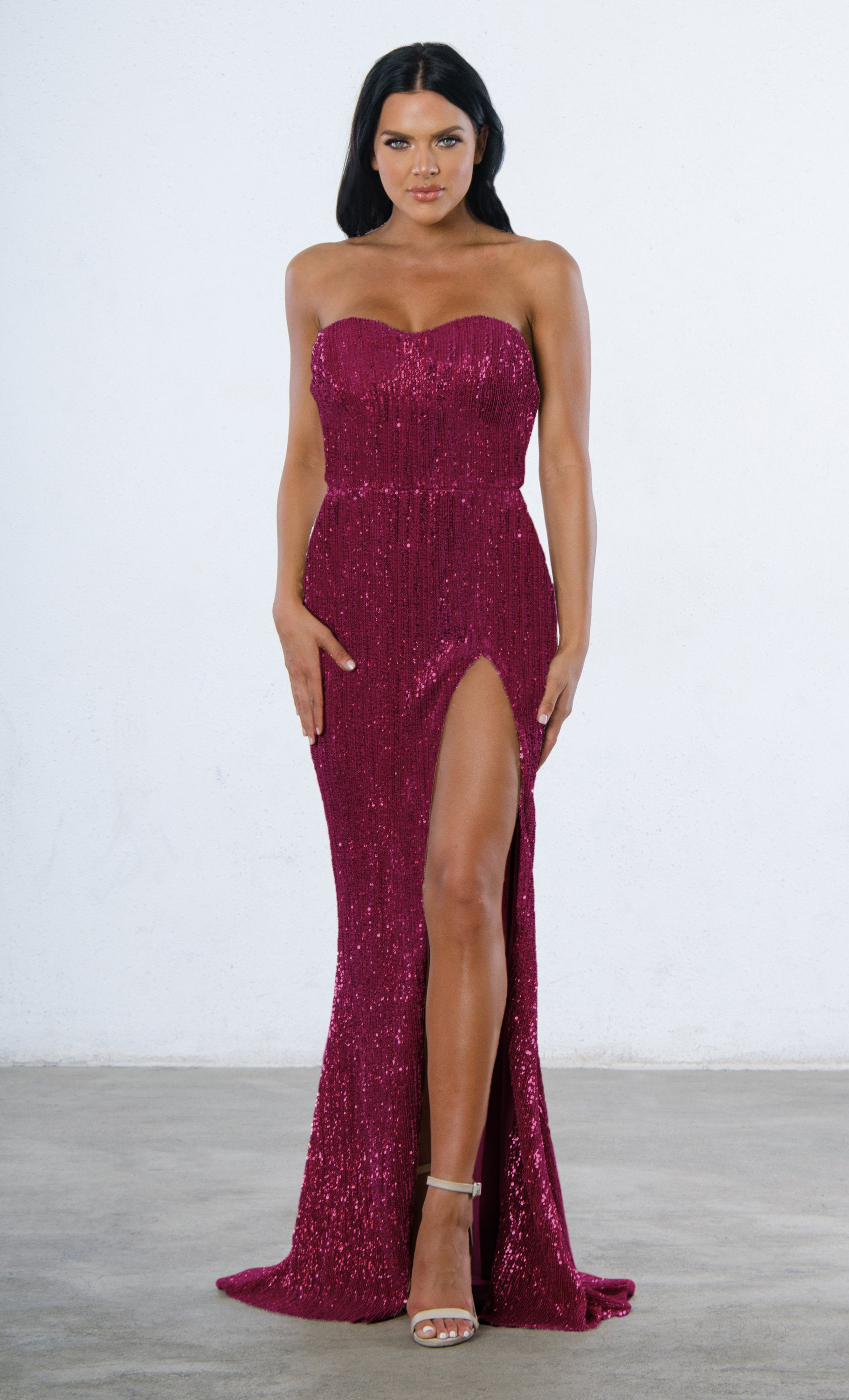 f21e86669ad0 Indie XO Show Me Some Love Burgundy Wine Red Sequin Strapless Sweetheart  Neck High Slit Fishtail