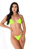 Hawaiian Spirit Army Green Sleeveless One Shoulder Crochet Elastic Two Piece Bikini Swimsuit