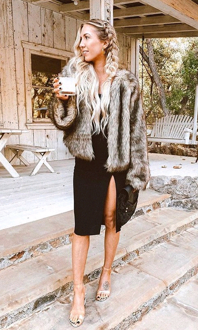 Snow Job Brown Camel Shaggy Faux Fur Long Sleeve Ombre Coat Outerwear