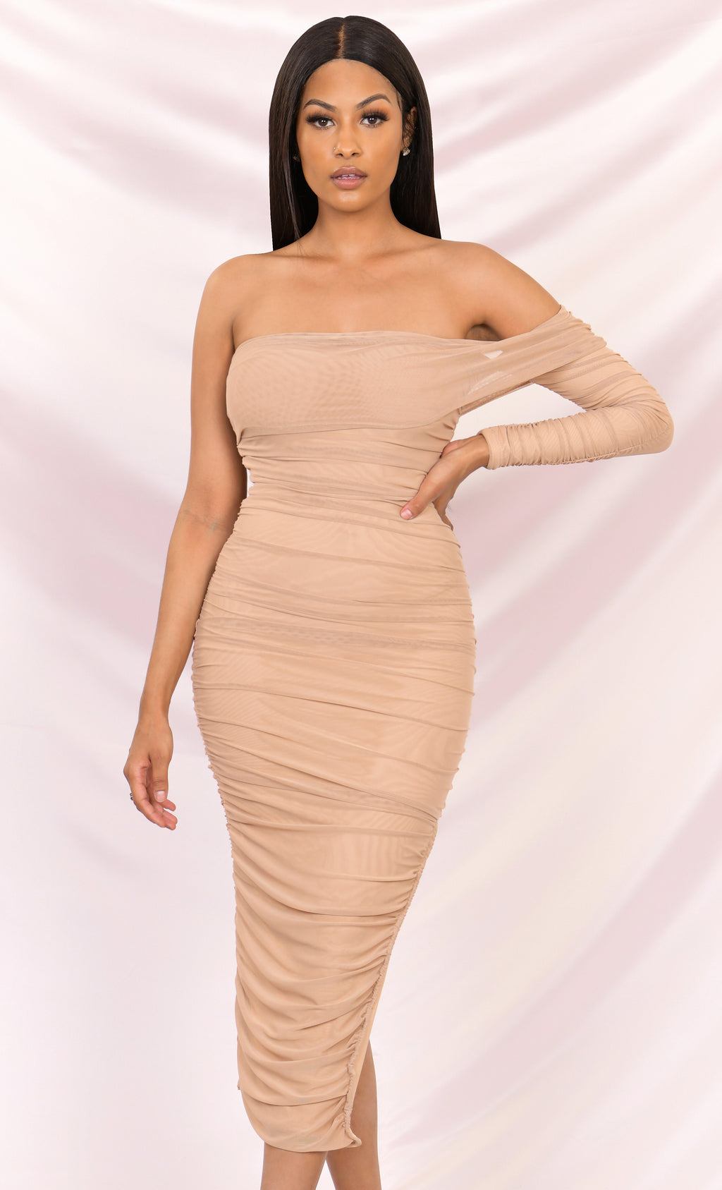 Full Of Fortune Light Brown Sheer Mesh Ruched Off The Shoulder One Long Sleeve Side Slit Bodycon Midi Dress - 4 Colors Available