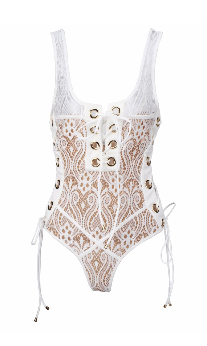 Take Me On Vacation White Lace Sleeveless Grommet Lace Up Bodysuit Top
