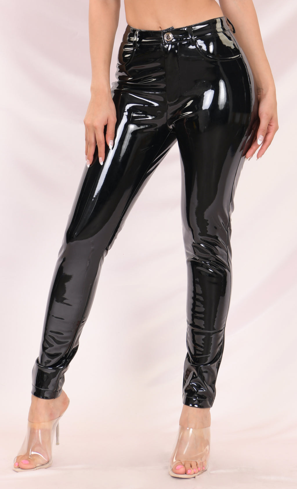 Too Slick Black PU Patent Mid Rise Shiny Zip Front Faux Leather Skinny Button Pant Streetwear