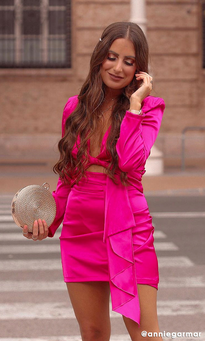 Don't Give AF Fuchsia Pink Long Sleeve Plunge V Neck Twist Wrap Cut Out Mini Dress