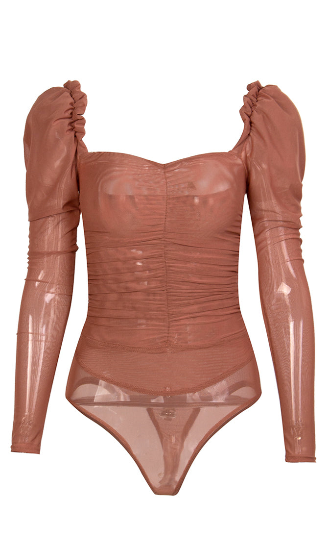 Peasant Perfect Brown Sheer Mesh Long Sleeve Puff Shoulder Sweetheart Neck Bodysuit Top
