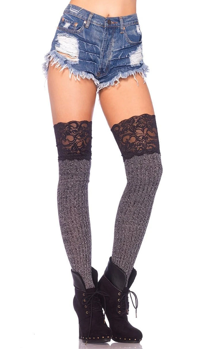 Stop Staring Grey Black Ribbed Lace Trim Over The Knee Slouch Socks
