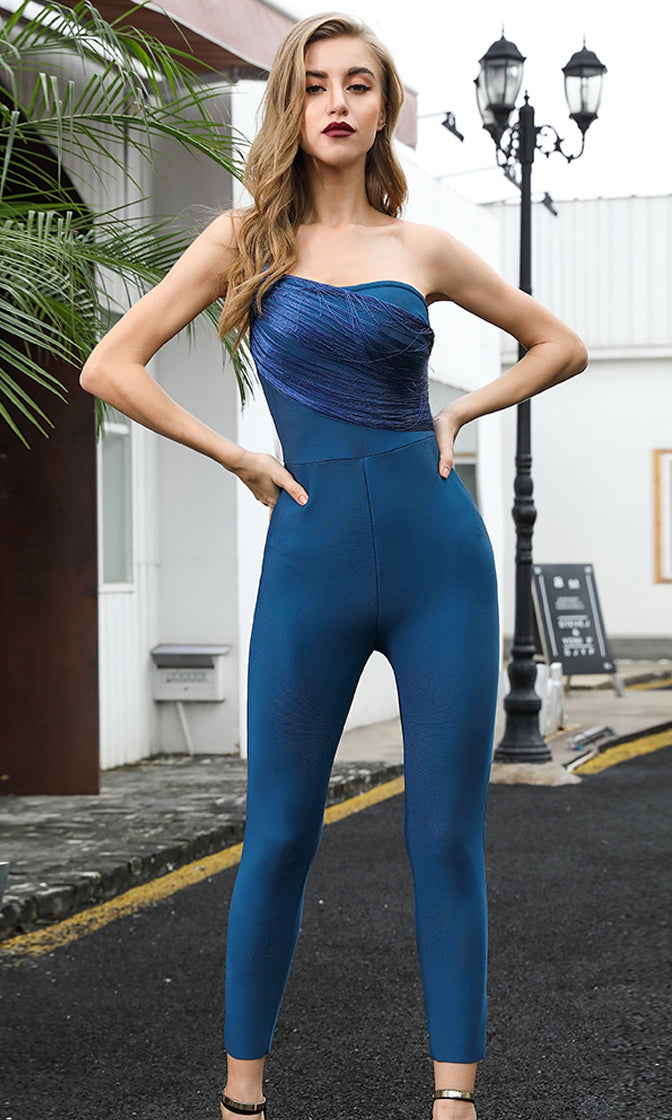 Star Of The Screen Dark Teal Sleeveless Spaghetti Strap One Shoulder Tassel Trim Skinny Bodycon Bandage Jumpsuit