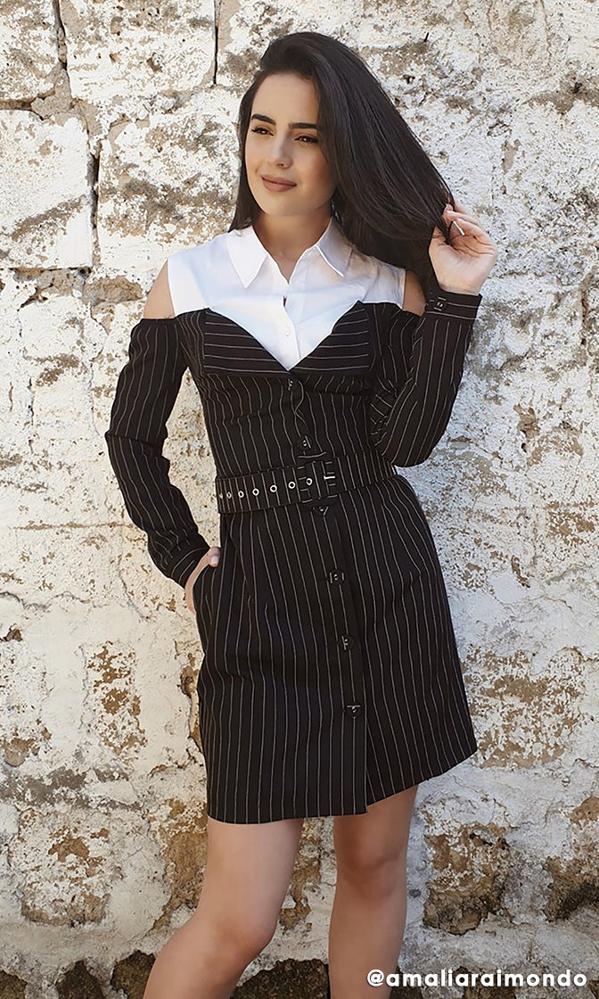 Dreaming Of Paris White Black Vertical Stripe Pattern Long Sleeve Cut Out Shoulder Belted Casual Mini Dress