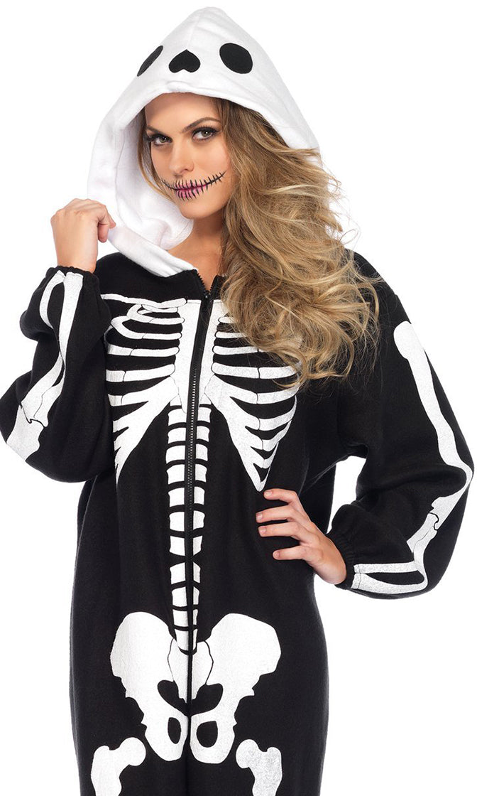 Onesie Skelly Black Fleece Skeleton Bones Long Sleeve Hood Zip Front Jumpsuit Halloween Costume