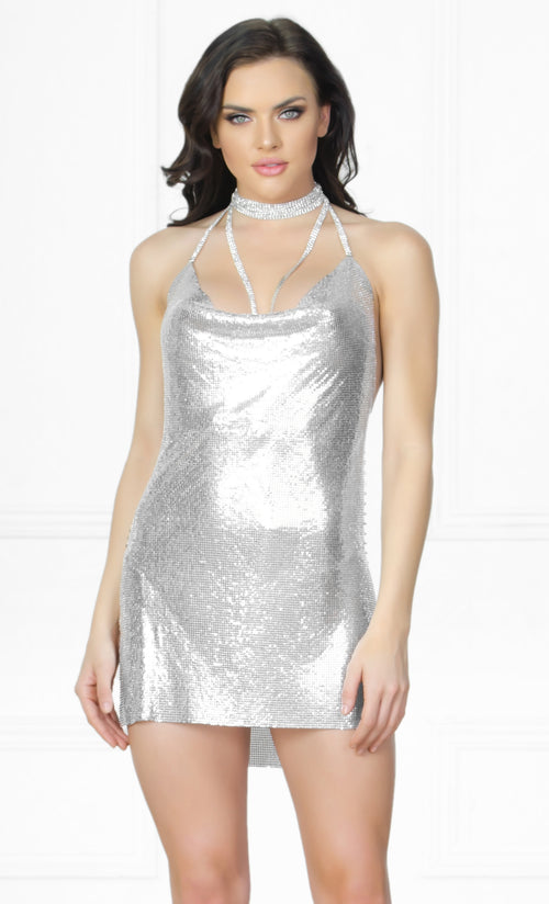 Indie XO Silver Chain Gang Metal Chainmail Plunge V Neck Backless Halter Mini Dress
