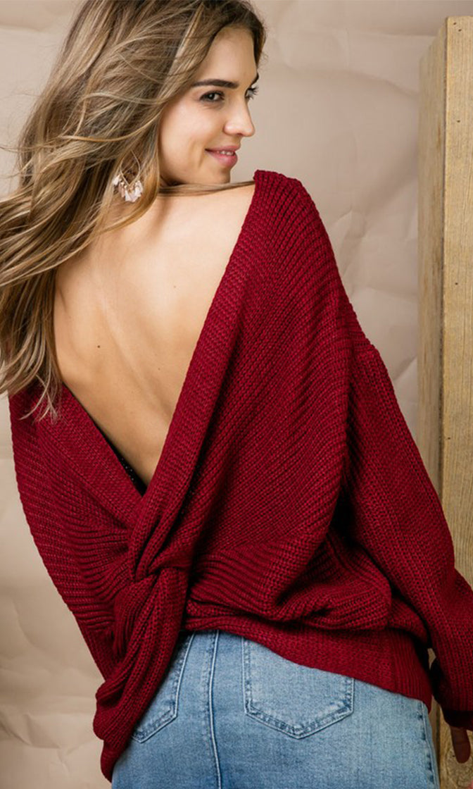 Sweetest Thing Burgundy Wine Red Long Dolman Sleeve V Neck Twist Pullover Sweater