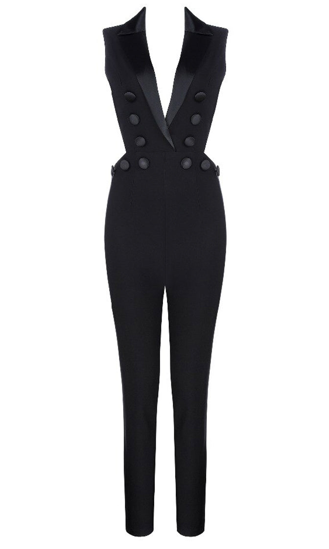 Now Is The Time Black Sleeveless Lapel V Neck Button Skinny Tight Bandage Jumpsuit
