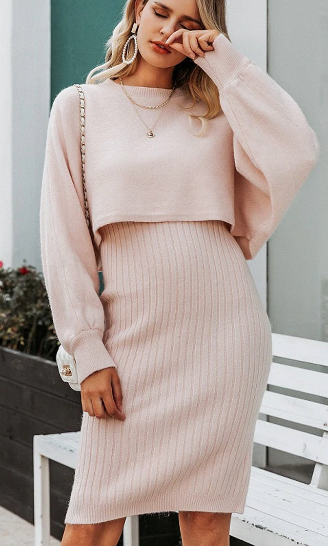 On The Hot List Long Lantern Sleeve Crew Neck Crop Pullover Sweater Sleeveless Ribbed Bodycon Midi Dress Two Piece Set - 5 Colors Available