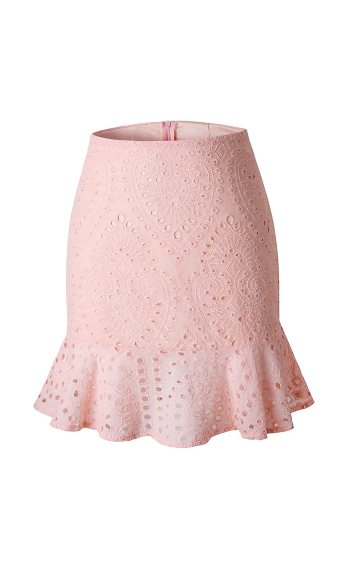 Life Is Good Pink Eyelet Lace Embroidery Ruffle Flounce Bodycon Mini Skirt