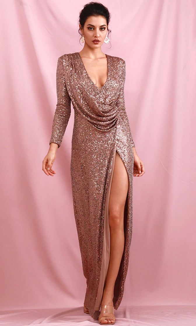Full Moon Rose Gold Sequin Long Sleeve Cross Wrap V Neck Drape Split Maxi Dress