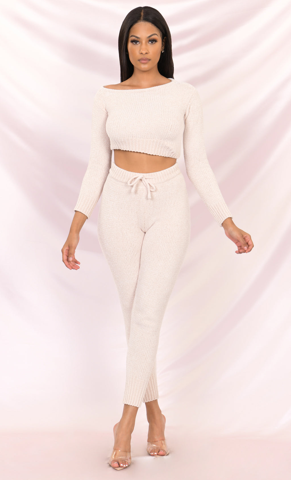 All Wrapped Up Long Sleeve Lounge Crop Top Off the Shoulder Chenille Skinny Legging Two Piece Lounge Jumpsuit - 3 Colors Available