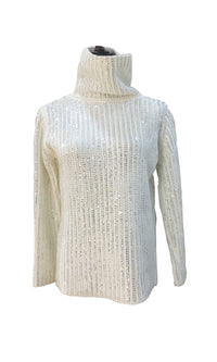 Morning Glow Beaded Long Sleeve Turtleneck Pullover Sweater - 2 Colors Available - Sold Out