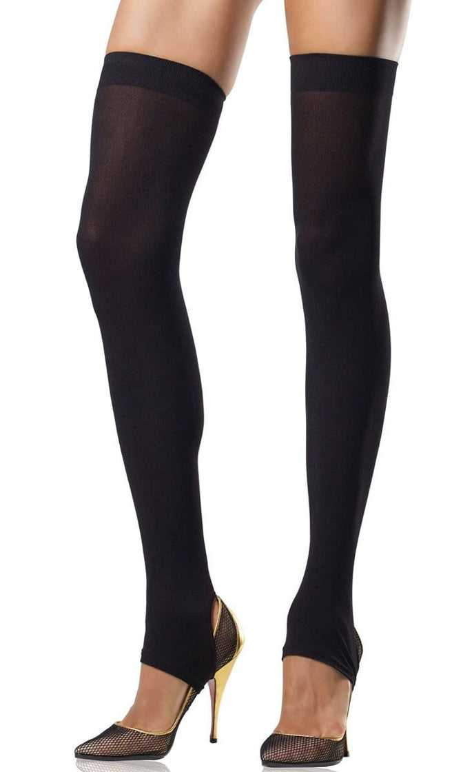 You Deserve It Black Opaque Stirrup Thigh High Stockings Tights Hosiery
