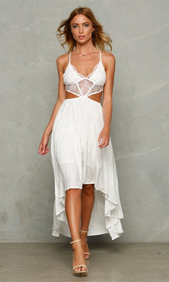 Touch The Sky White High Low Sleeveless Spaghetti Strap Plunge V Neck Lace Trim Cut Out Waist Asymmetric Midi Dress
