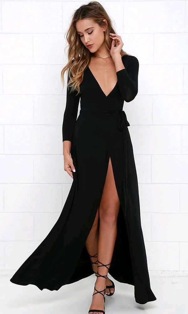 e151a28e0e49 Every Which Way Black Long Sleeve Plunge V Neck Wrap Front Slit Maxi Casual  Dress