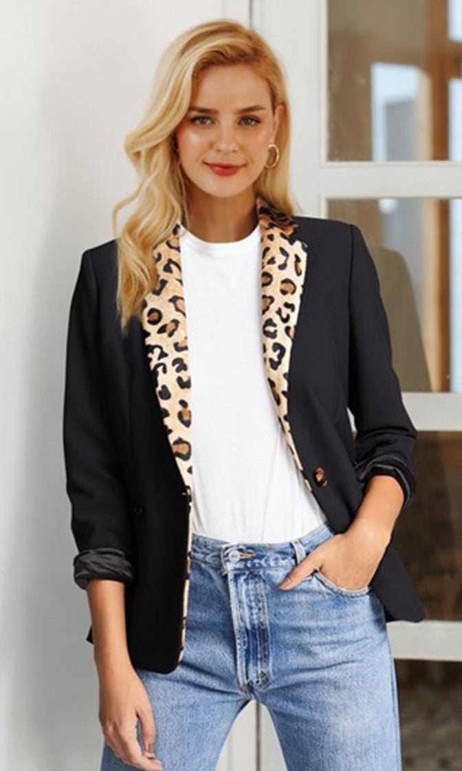 In My Own Way Black Cheetah Pattern Long Sleeve Lapel V Neck Blazer Jacket Outerwear