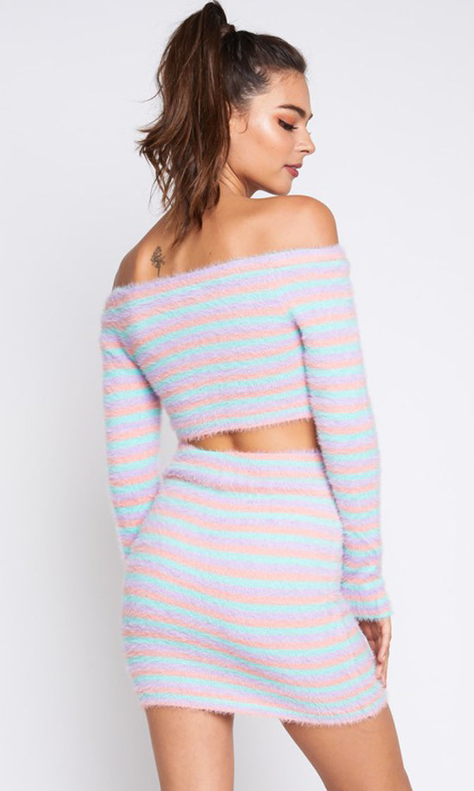 Sweet Like Candy Lavender Blue Horizontal Stripe Pattern Faux Fur Knit Off the Shoulder Crop Pullover Sweater Bodycon Casual Two Piece Mini Dress