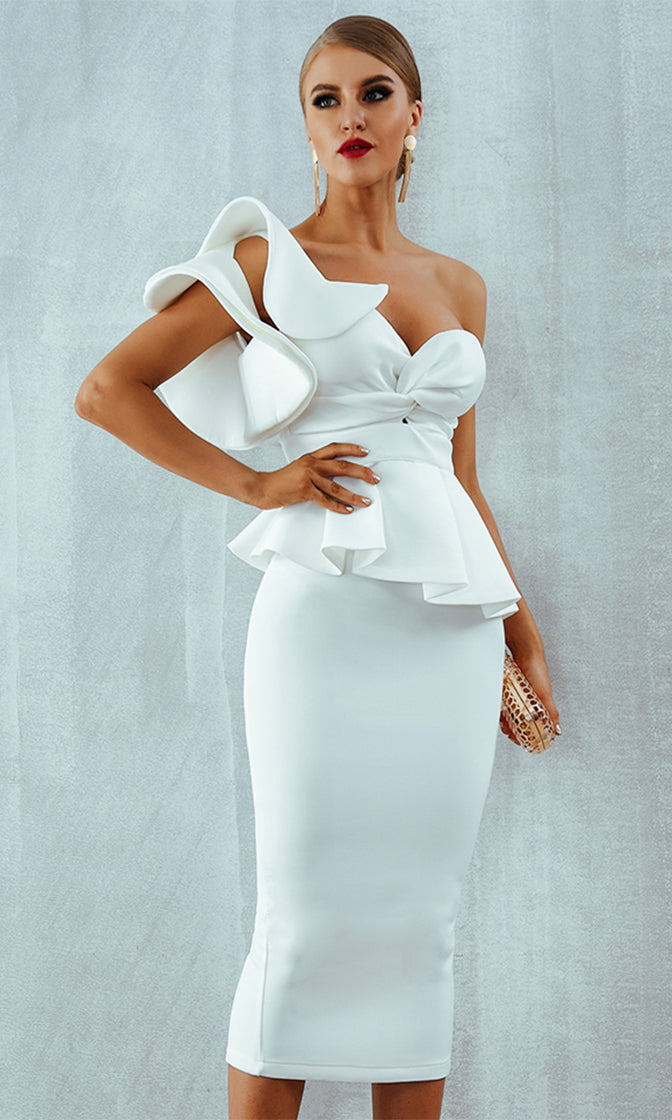 f416ff6408d Be Faithful White One Shoulder Ruffle Peplum Twist Front Two Piece Bodycon  Midi Dress