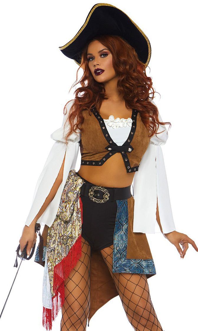 Ship Ahoy Brown White Faux Suede Long Sleeve Off The Shoulder Ruffle Crop Top Bodycon Shorts Two Piece Romper Halloween Costume