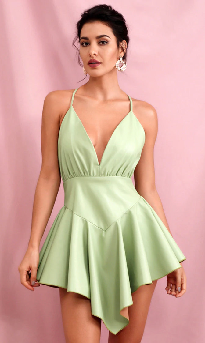 Flashing Forward Light Green PU Sleeveless Spaghetti Strap Backless Plunge V Neck Halter Drop Waist Asymmetric Flare Mini Dress
