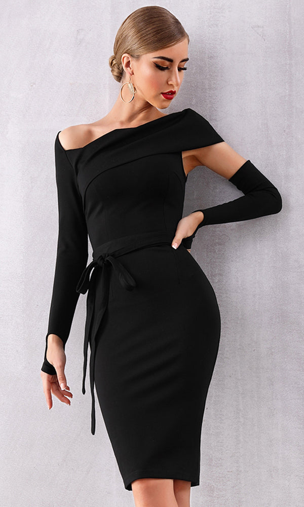913af7bbba96 Cut Him Out Black Long Sleeve One Shoulder Asymmetric V Neck Detached Sleeve  Bodycon Midi Dress