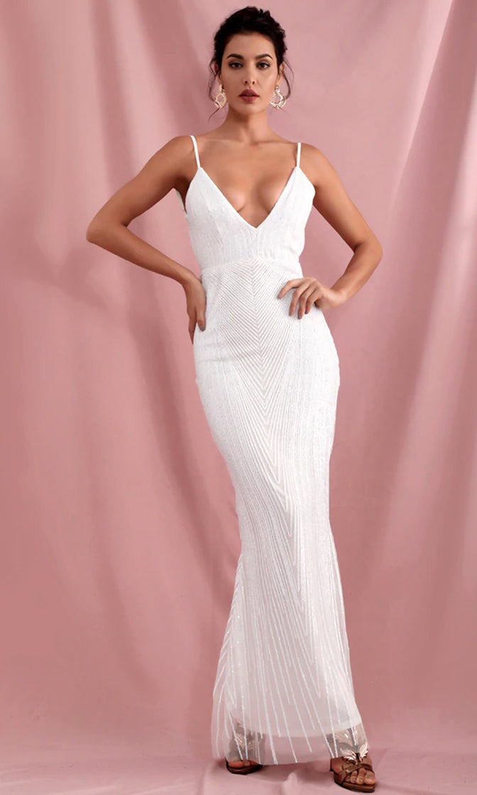Hollywood Signs White Sequin Geometric Pattern Sleeveless Spaghetti Strap Plunge V Neck Backless Maxi Dress