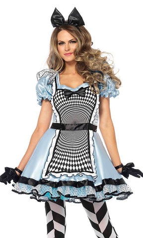 Wonderland Trip Light Blue Black White Diamond Pattern Short Sleeve One Shoulder Ruffle Lace Up Waist Flare A Line High Low Mini Dress Halloween Costume