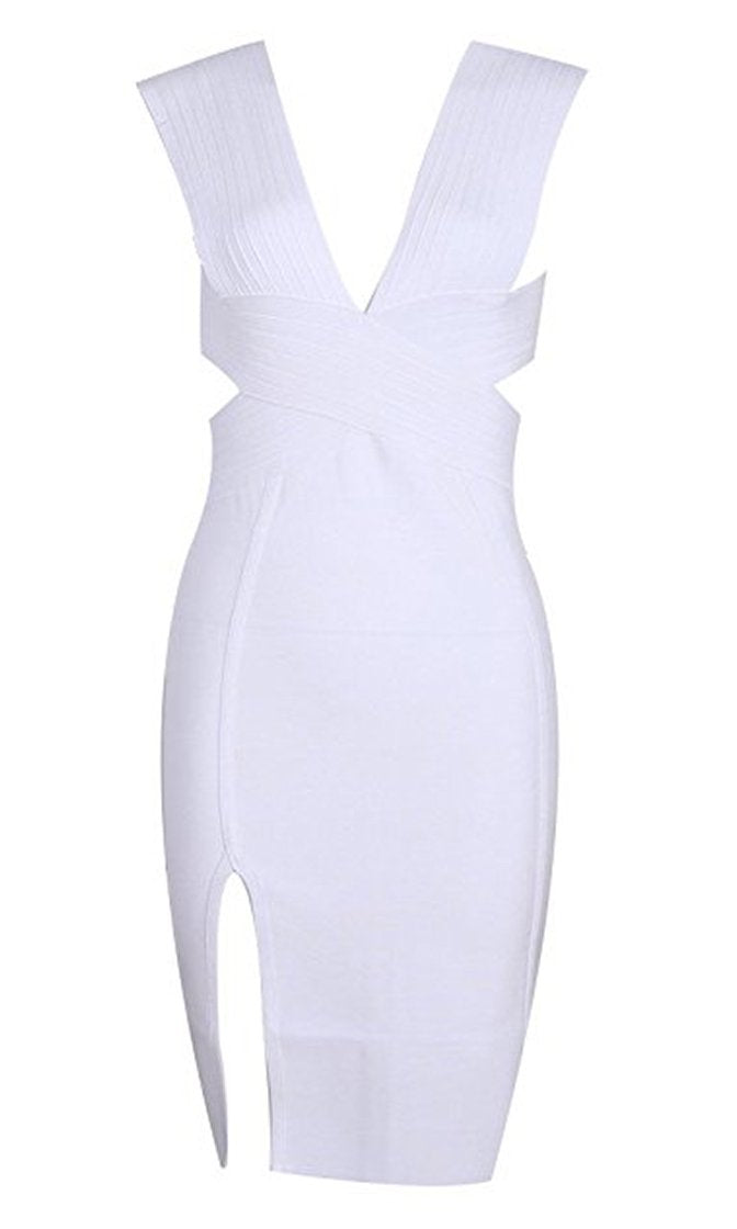 Won't Stop Sleeveless V Neck Side Slit Bodycon Bandage Mini Dress - 3 Colors Available