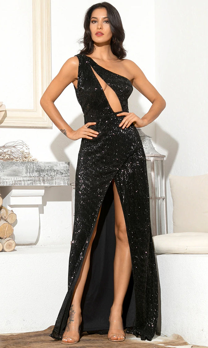 Hollywood Romance Black Sequin Sleeveless One Shoulder Asymmetric Cut Out Front Split Maxi Dress