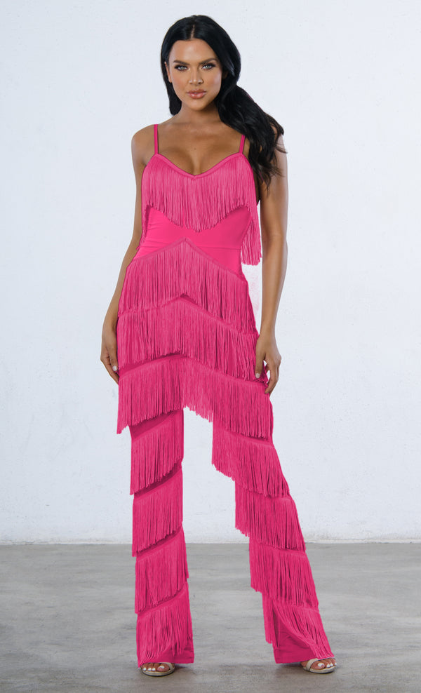 d047b801343 Indie XO Not Holding Back Pink Spaghetti Strap Fringe Mesh Tiered Jumpsuit  - 2 Colors Available