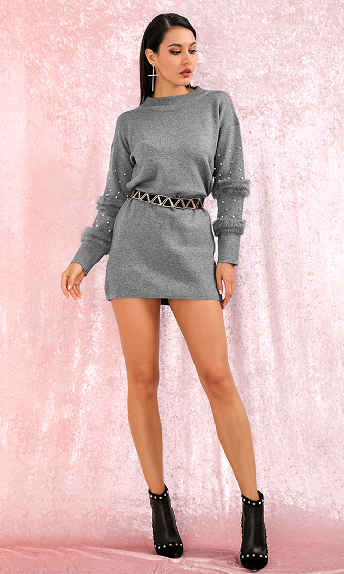 Commitment Issues Grey Feather Bead Long Sleeve Round Neck Sweater Casual Mini Dress
