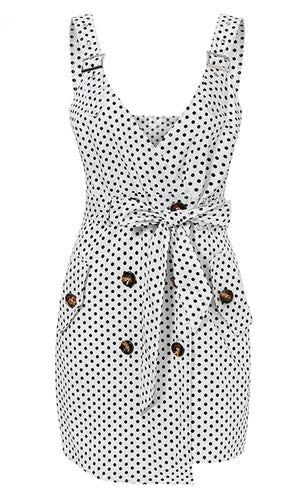 Game, Set, Match White Polka Dot Pattern Sleeveless Buckle Strap V Neck Double Breasted Tie Belt Casual Mini Dress